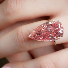 Fashion Simple Silvering Pear Cut Ring Eternity Pink Water-drop Jewelry Luxury Charm