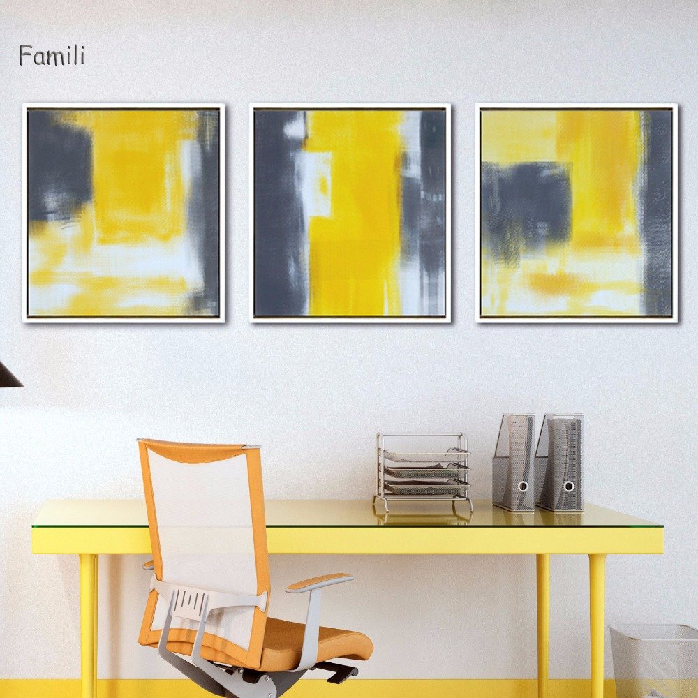 Modern Wall Abstract Paint Yellow Gray and White Canvas Painting Art ...