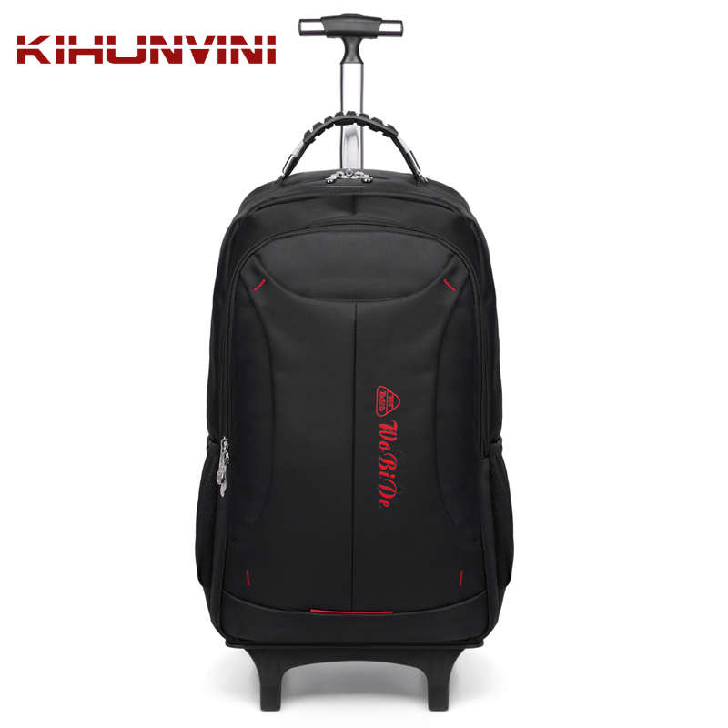 Detachable Trolley Backpack Men Big Bagpack On Wheels Luggage Bags For Trip Drawbar Travelling Pack Wheeled 2017 New Arrivals 6 wheels high quality girls trolley backpack schoolbag wheeled bags for children trolley school bag boys detachable backpack