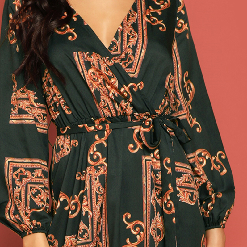 COLROVIE V Neck Scarf Print Belted Wrap Casual Dress Women 19 Spring Long Sleeve Party Maxi Dress Vacation Ladies Dresses 25