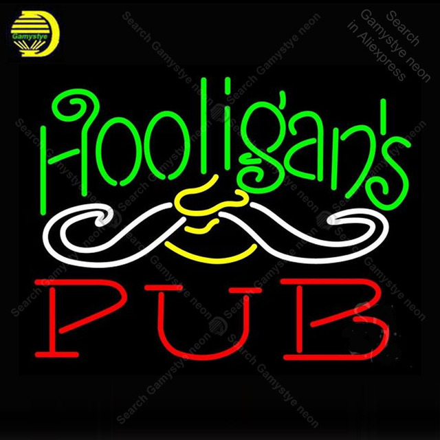 Neon Sign for Hooligans Pub Neon Bulbs Sign lamp Pub Display Beer Bar Club Light up wall sign Neon Sign for Room Letrero Lampara