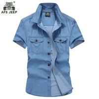 Free Shipping 2016 Hot Sale Summer Brand Clothing Denim Shirt Male Short Sleeve Men Slim Fit