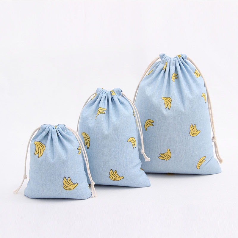 Blue Banana Food Printed Drawstring Bag Cotton Casual Tote Resuable Packaging Gift Bag Jewelry Christmas Bag Storage Bag