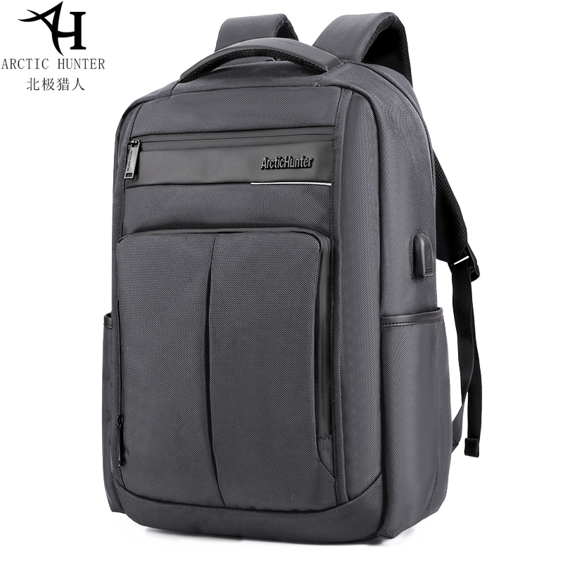 Sac à dos pour ordinateur portable arctique Hunter à la mode pour hommes gris USB chargeur sac étanche multi-fonction Mochila sac à dos de loisirs B00121