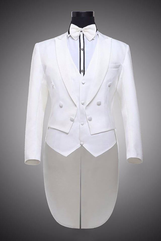 Vyrų juoda balta smokinga oficiali suknelės kostiumai vyriški - Vyriški drabužiai - Nuotrauka 3