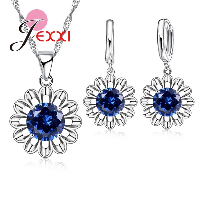 JEXXI Top Quality 8Colors 925 Sterling Silver Flower Jewelry Set For Woman Crystal Pendant Necklace Earrings Weddingg Hot Sale