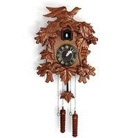 American cuckoo wall clock fashion pastoral music sensory report bird solid wood engraving watches