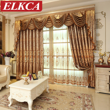 Luxury European Embroidered Curtains for Living Room Coffee Curtains for Bedroom Embroidered Voile Tulle Curtains for Kitchen