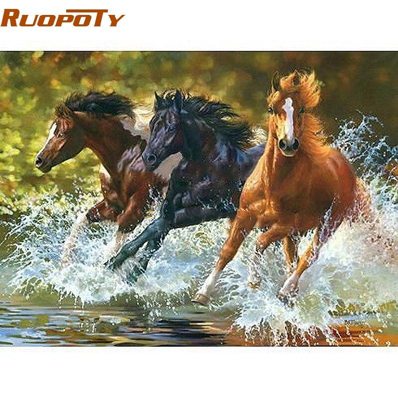 RUOPOTY Fiume In Esecuzione Cavallo Animali Pittura Digitale di Diy Dai Numeri di Arte Della Parete Pittura A Olio Dipinta A Mano Moderno Per La Decorazione Domestica