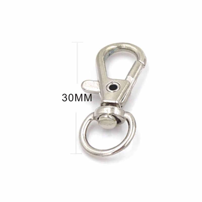 20 cái Bạc Mạ Kim Loại Xoay Lobster Clasp Clips Móc Chìa Khóa Keychain Chia Key Ring Phát Hiện Móc Cài Cho Móc Khóa Làm 30 mét
