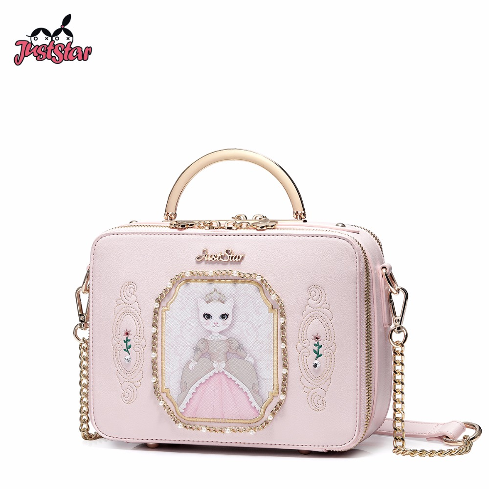 JUST STAR Women's PU Leather Handbag Ladies Cartoon Royal Cat Tote Shoulder Purse Female Beading Chain Flap Messenger Bag JZ4506  fashion design bee metal pearl pu leather chain ladies shoulder bag handbag flap purse female crossbody messenger bag 5 colors