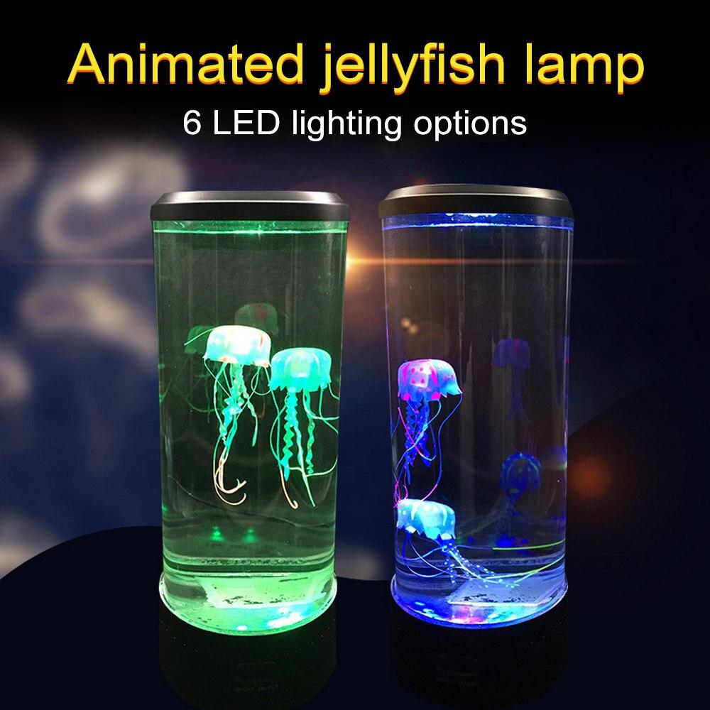 2.5W LED méduse lampe Aquarium 7 couleur veilleuse atmosphère décorative et romantique lampe de nuit USB charge ABS acrylique