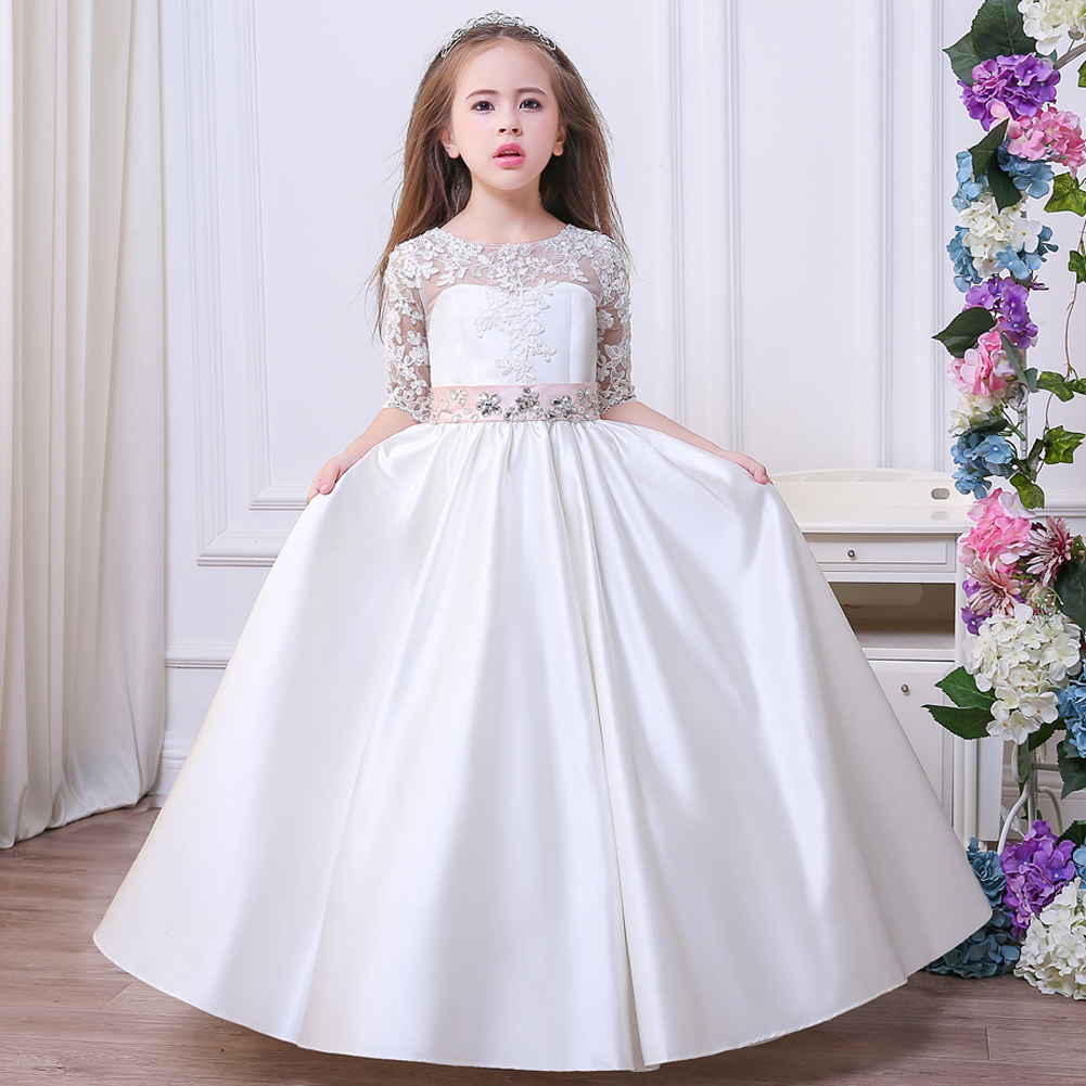 Prom Party Princess Flower Girl Dress Wedding Long Formal Children Birthday Dresses iyeal 2018 new prom party princess flower girl dress wedding long formal children birthday dresses for girls kids brand clothes