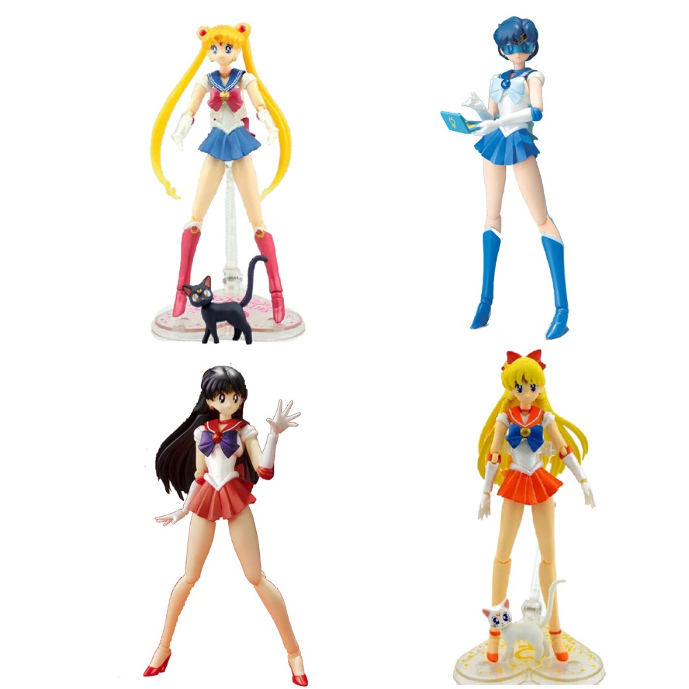 SHF S.H.Figuarts Pretty Guardian Sailor Moon/Mercury/Sailor Mars/Sailor Venus Action Figure New in Box Free Shipping gray j mars and venus in the bedroom