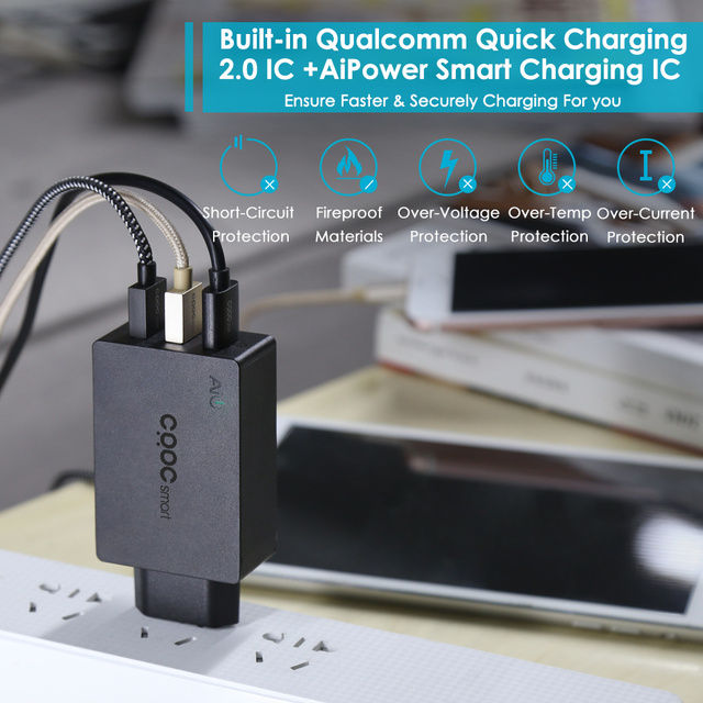 CRDC USB Charger 42W Quick Charge 2.0 Fast Moblie Phone Charger For Samsung Galaxy S8 S7 Xiaomi mi5 iPhone 7 plus Power Bank etc