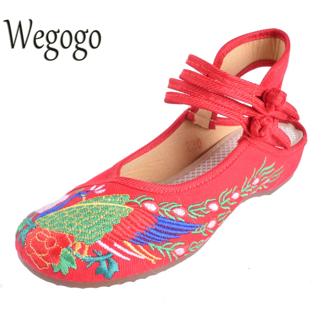 Wegogo Vintage Womens Flat Shoes Canvas National Peacock Embroidered Dance Single Breathable Shoes Plus Size 34-41