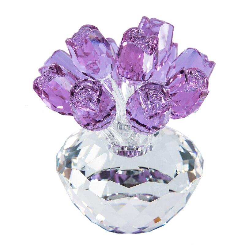 H & D cadeau pour la fête des mères cristal Rose fleur Bouquet Figurines mariage saint valentin faveurs cadeaux maison Table décor (violet)