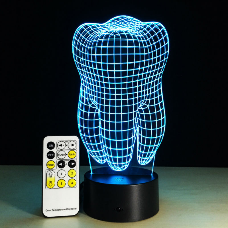 3D Teeth 7 Colors Changing Remote Control Switch Acrylic Magic Palace 3D Lamp Bedroom Small Desk Energy Saving Lamp Souvenir