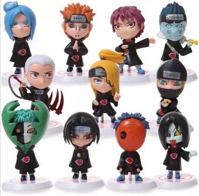 11 pçs/set 8 cm Japonês Anime Naruto Akatsuki Orochimaru Uchiha Madara Sasuke Sakura Estatueta 2.6 Action Figure Brinquedos Modelo brinquedo