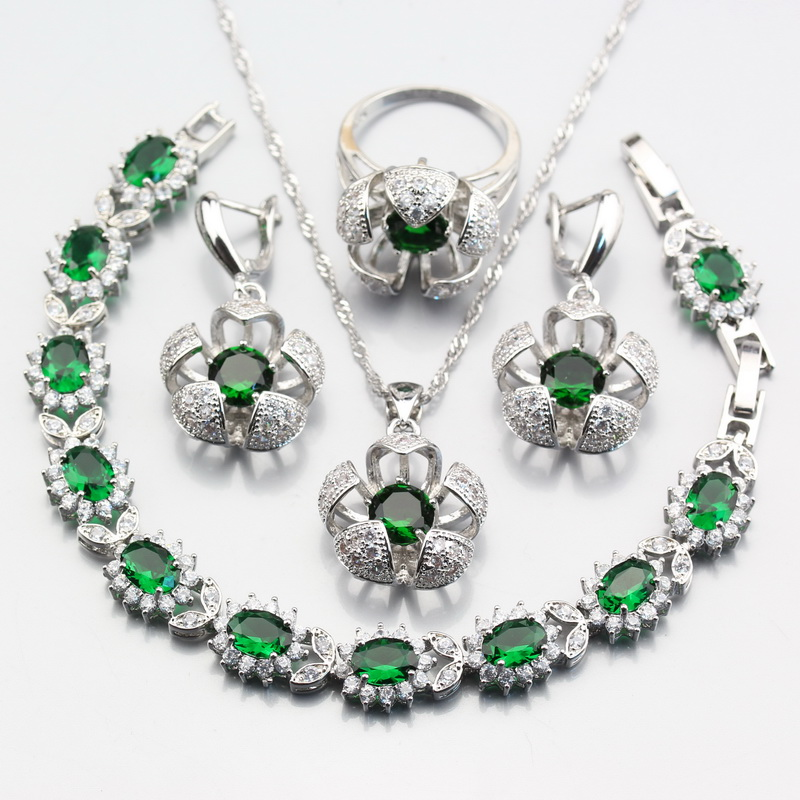 4PCS Earrings Ring Pendant...
