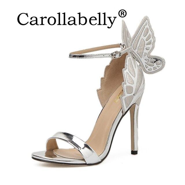 Carollabelly 2018 Sweet High Heels Butterfly Heel Women Pumps Women Sandals  Sexy Wedding Party Shoes 11cm Heel d6c6f8c14825