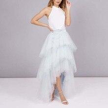 Мода ледяные синие высокие низкие многоуровневые тюлевые юбки для невесты на молнии на заказ красивые длинные женские тюлевые юбки-пачки