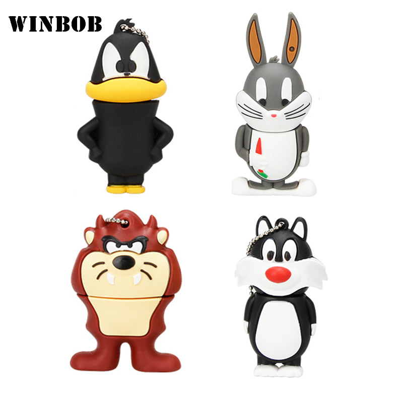 WINBOB Cartoon Cat Duck Rabbit Lion USB Flash Drive 2.0 4GB 8GB 16GB 32GB 64GB Creative USB Flash Drive Pendrive Free Shipping