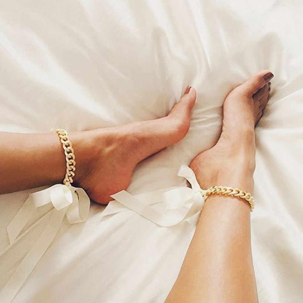 1 шт., обувь в стиле панк с толстой цепочкой и длинными лентами, пляжная обувь на высоком каблуке с браслетом на лодыжке, пикантные Клубные вечерние бижутерия для ног для девочек, 4 цвета