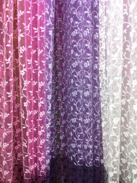 CS 95 Rod Packet Head Style US Home Fashion Floral Printed Sheer Organza Curtain Fabric