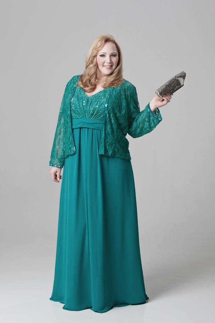 c9169d0af3c5c Elegant Mother Of the Bride Lace Dresses Plus Size Long Sleeves ...