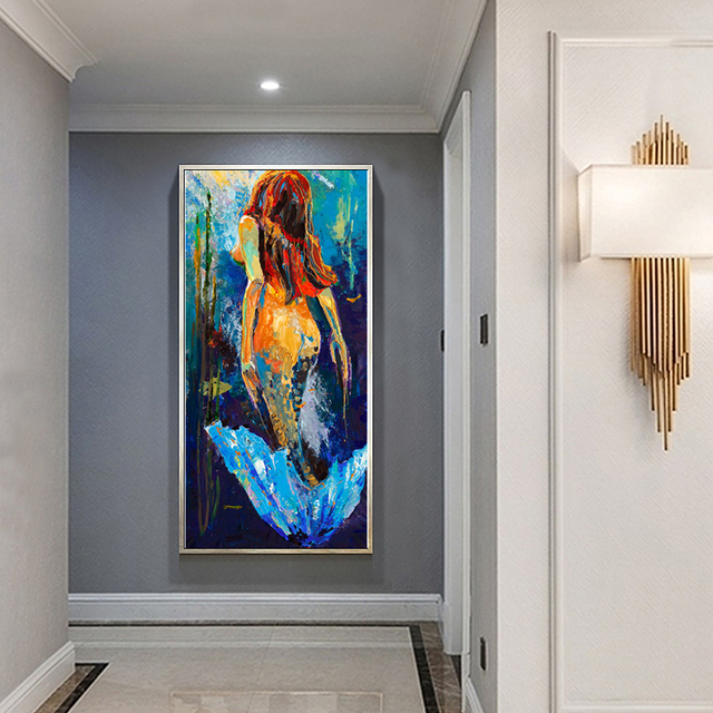 Wall Art Mermaid Oil Painting Home Decor Canvas Pictures For Living Room  Expressism Decoration Pictures Prints