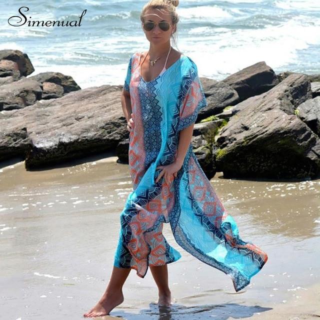 Лето стиль 2017 шифон длинные dress batwing рукавом большой размер сексуальные beach dress горячие продажа новые печати цветочные повседневные платья для женщин
