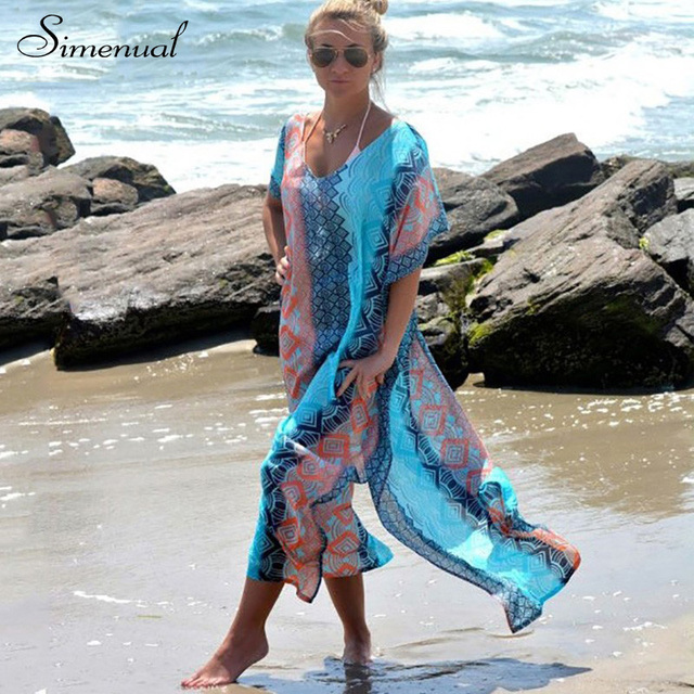 Summer style 2017 chiffon long dress batwing sleeve big size sexy beach dress hot sale new print floral casual dresses for women