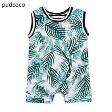 Newborn Baby Boy Striped Rompers Sleeveless Green Leaves Print Rompers Jumpsuit Outfits Sunsuit Summer Clothes Cotton 0-24M(China)