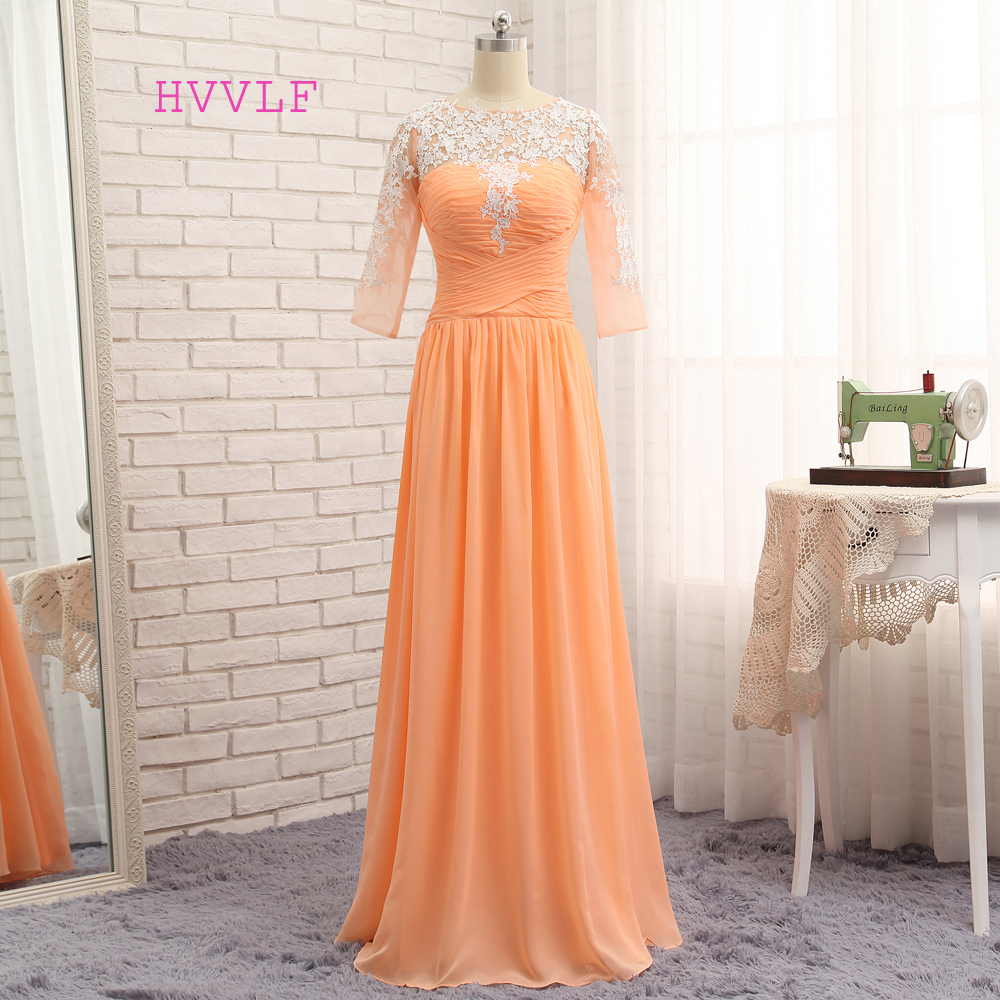 New Orange   Evening     Dresses   2019 A-line Half Sleeves Chiffon Appliques Lace Elegant Long   Evening   Gown Prom   Dress   Prom Gown