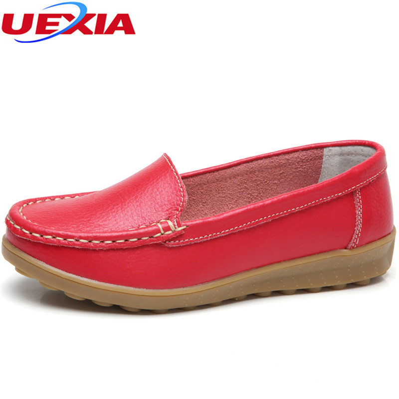 UEXIA New 2018 Women Leather Driving Shoes Slip on Flats Comfort Slip On Moccasins Casual Shoes Female Printing Loafers Fashion uexia winter women flats warm fur plush comfort cotton shoes woman loafers slip on cute indoor warm furry comfortable moccasins