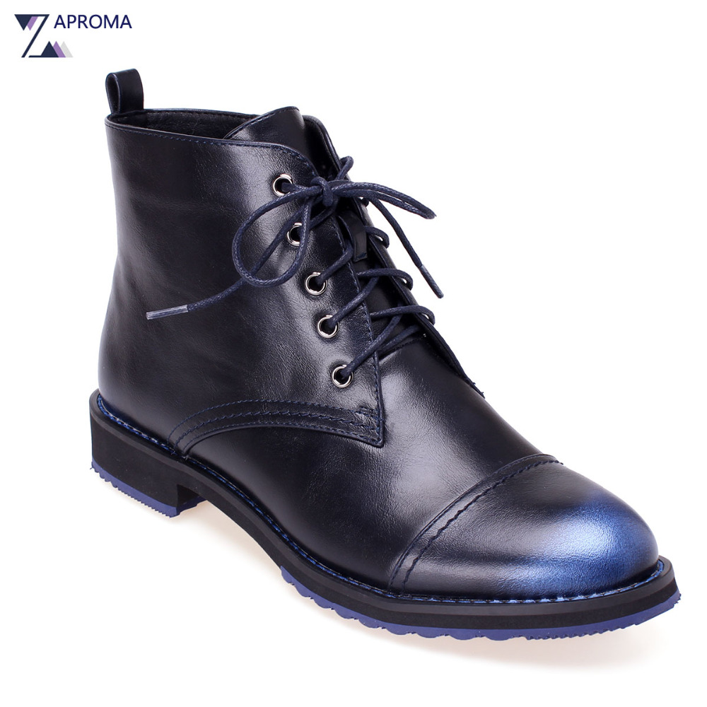 Navy Blue Handmade Women Lace Up Ankle Boots Low Heel 2018 Neutral Round Toe Autumn Winter Square Heel Short Plush Martin Shoes mens autumn winter round toe martin boots black genuine leather ankle plush short boots for men casual flat lace up cotton shoes