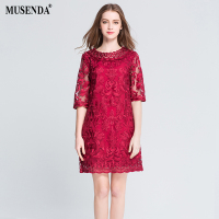 MUSENDA Plus Size Women Hollow Out Lace Embrodery Half Sleeve Red Dress 2017 Summer Sundress Lady