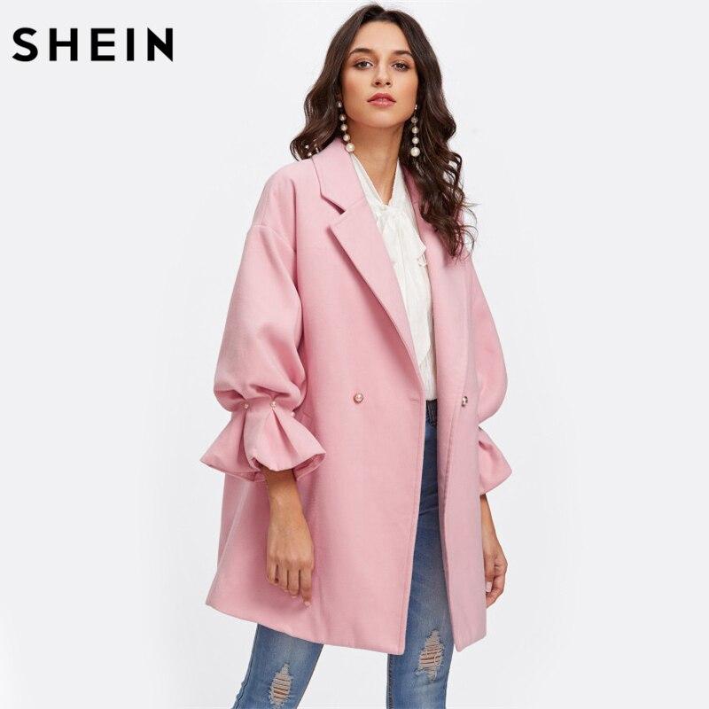 Шеин заниженной линией плеч жемчужина подробно рябить манжеты пальто элегантные пальто для Для женщин розовый с длинным рукавом Дамы Демис...