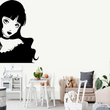 Modern beautiful girl Wall Sticker Home Decor Stikers For Baby Kids Rooms Wallpaper Creative Stickers naklejki na sciane
