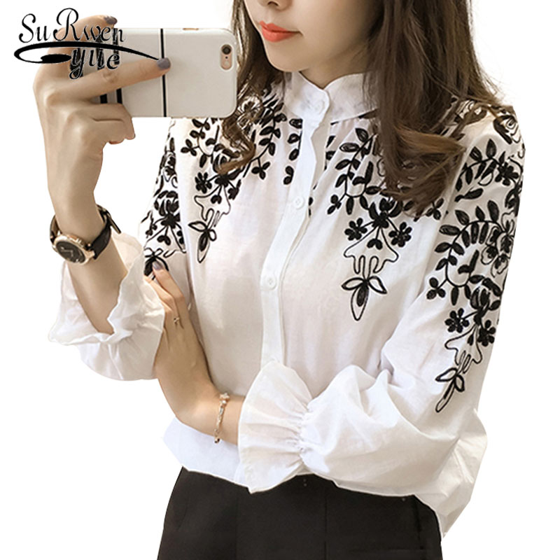 2018 Fashion Female Clothing Embroidery   Blouse     Shirt   Cotton Korean Flower Embroidered Tops Korean Style Fresh   shirt   529E 25