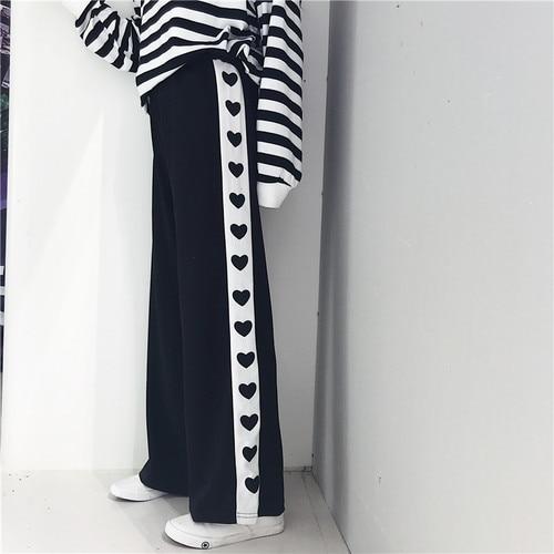 Wide     Leg     Pants   Women 2018 Autumn Japanese Lolita Hearts Printed High Waist Sweatpants Trousers Black Pink pantalon femme B207
