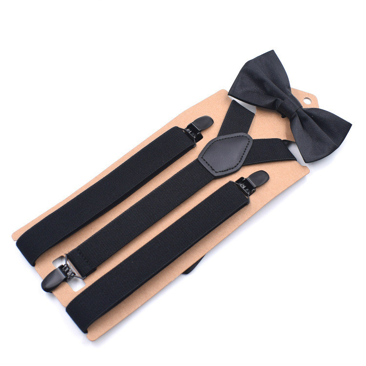More Color Mens 3 Clip Y-Shape Straps Suspenders Bowtie Set Adjustable Braces Colorful Elastic Suspender Mens Belts Straps