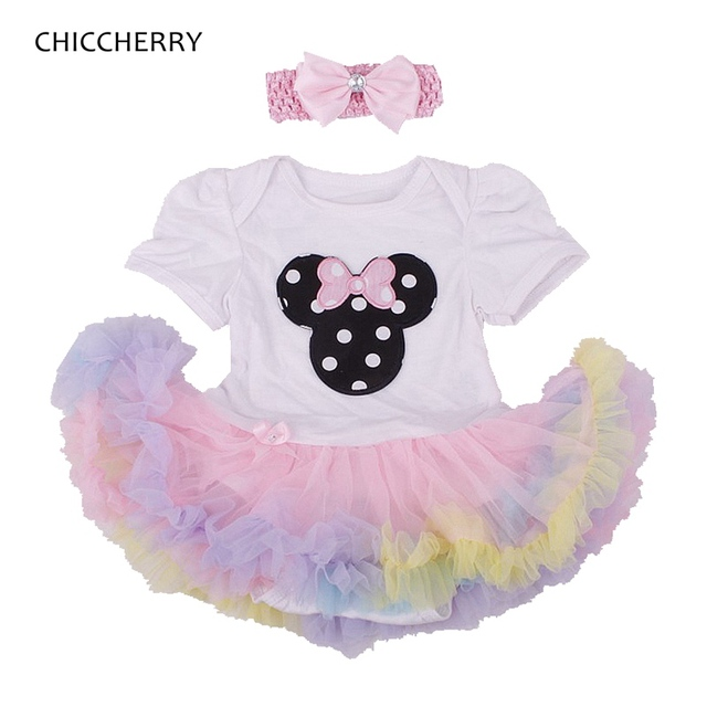 Cute Minnie Baby Girl Clothes Summer 2016 Lace Tutu Romper Dress with Headband Vestido Toddler Birthday Outfits Infant Clothing