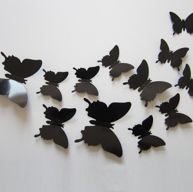 12pcs/set New Arrive 3D Creative Black Butterfly Wall Stickers PVC Flower Butterfly Wall Stickers Home Decor(China)