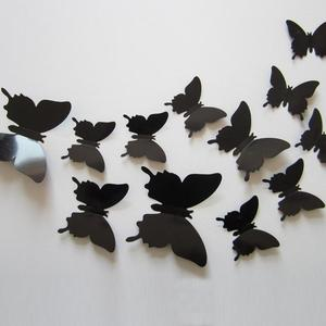 12pcs/set New Arrive 3D Creative Black Butterfly Wall Stickers PVC Flower Butterfly Wall Stickers Home Decor(China)