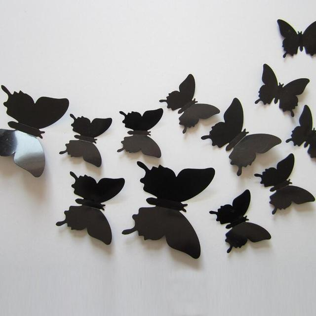 12pcs/set New Arrive 3D Creative Black Butterfly Wall Stickers PVC Flower Butterfly Wall Stickers Home Decor