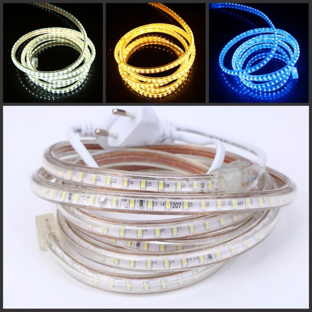 цена на led strip 220V 3014 SMD 120leds/m waterproof flexible tape light Warm white 1m 5m 10m 20m 25m 50m 100m Power plug