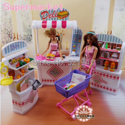 Free Transport Lady birthday present plastic Play Set grocery store Self-mall retailer  doll equipment for barbie doll,ladies diy toys