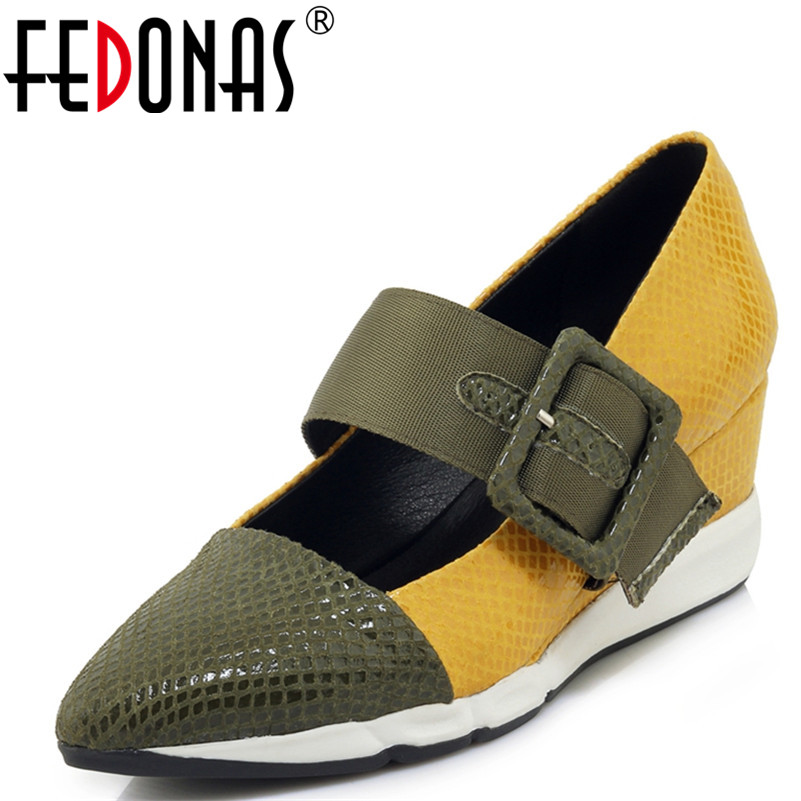 FEDONAS Women Sexy Patchwork Pumps Fashion Wedges High Heels Pointed Toe Shoes Woman Retro Prom Club Pumps Autumn New Shoes new women pumps transparent wedges high heels ankle pointed toe high heels pring autumn sexy shoes woman platform pumps